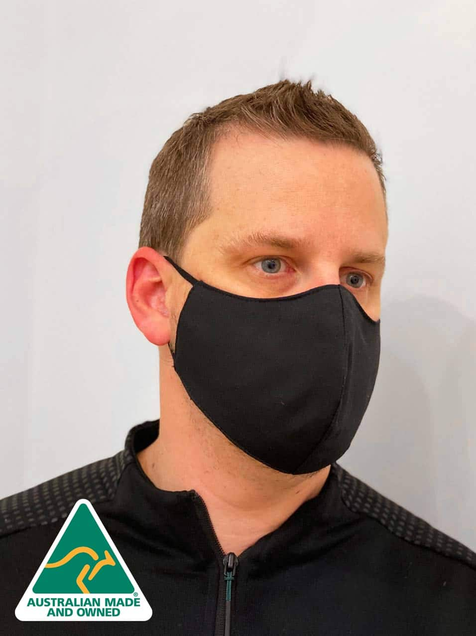 Australian Made Reusable Men's Face Masks For Men (Black)