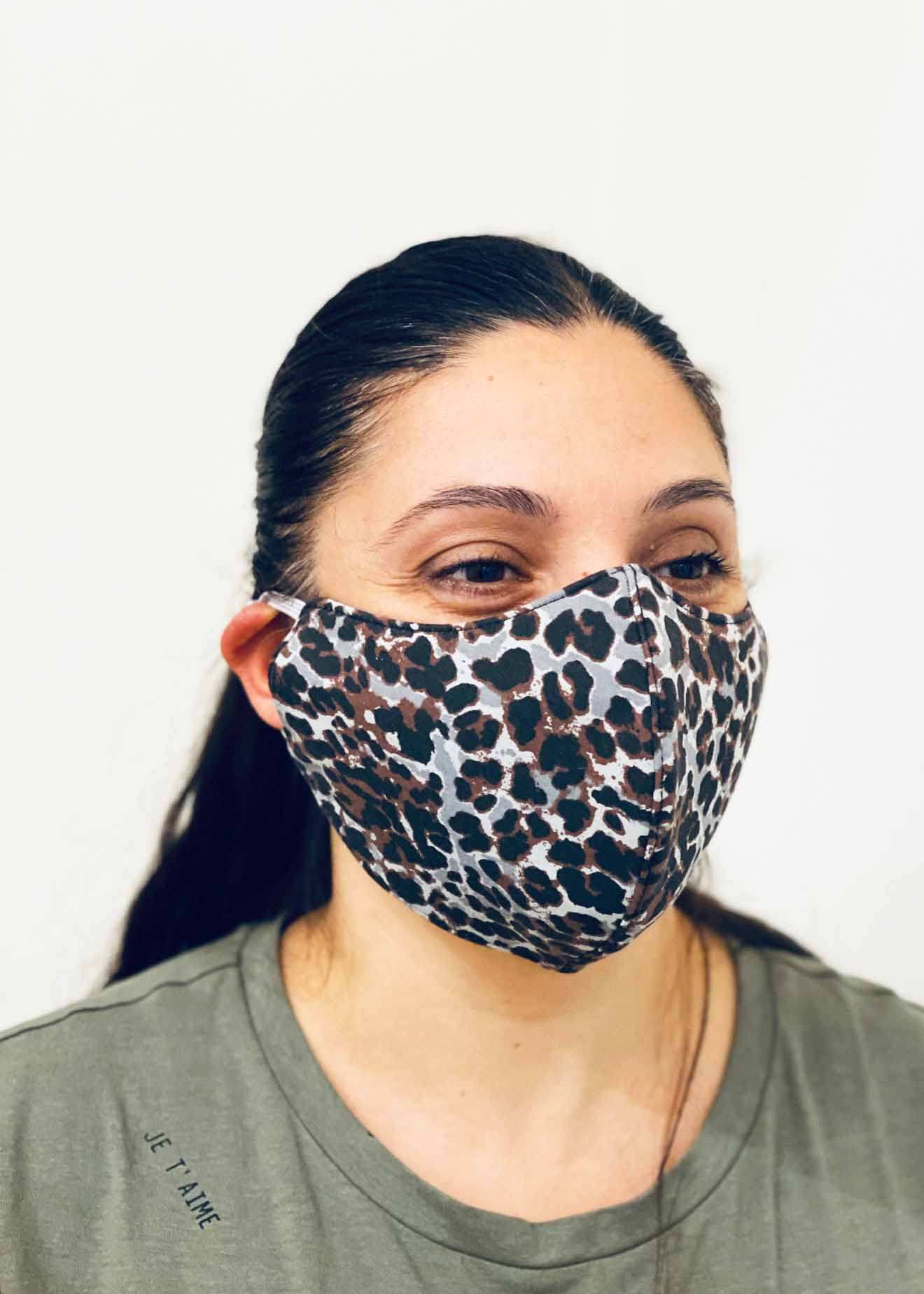 Ladies DHHS Leopard (Grey/Brown) Face Mask by Laundry Box Melbourne