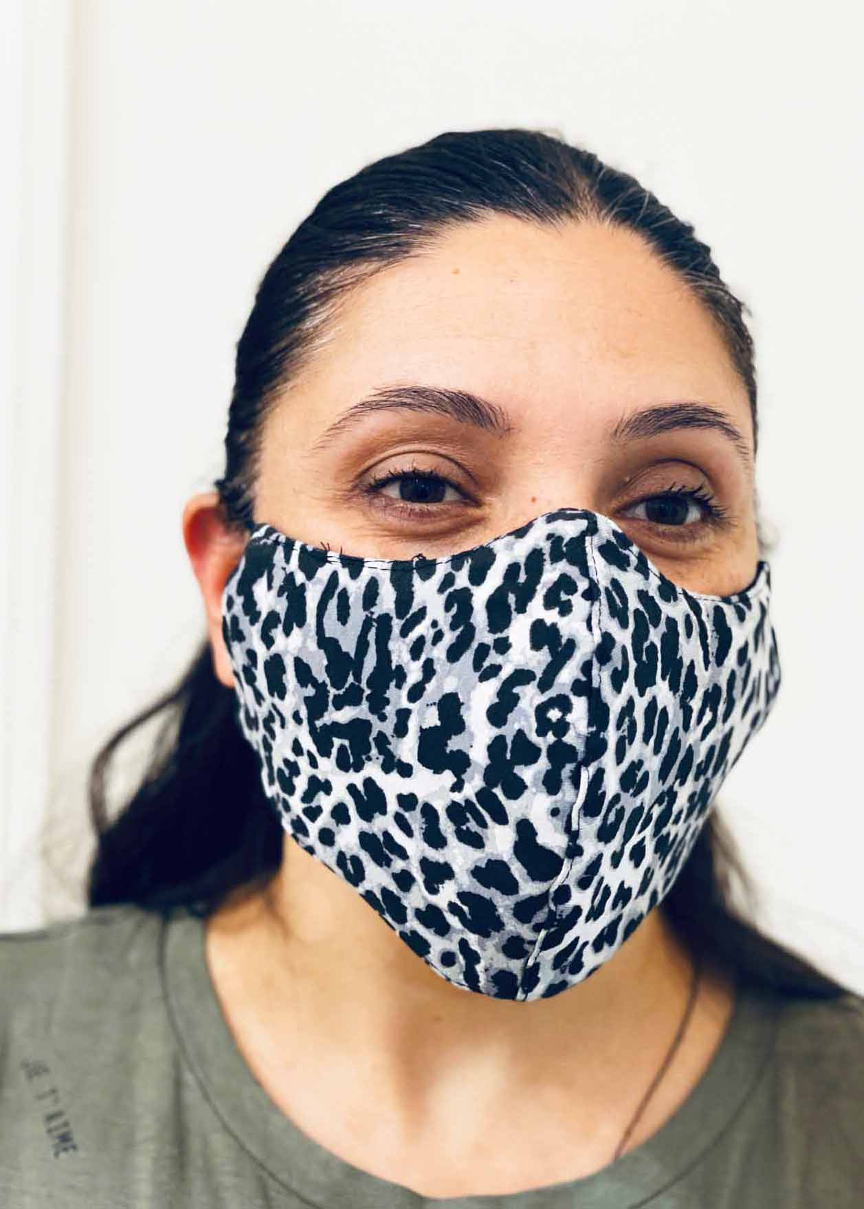 Ladies DHHS Leopard (Grey/White) Face Mask by Laundry Box Melbourne