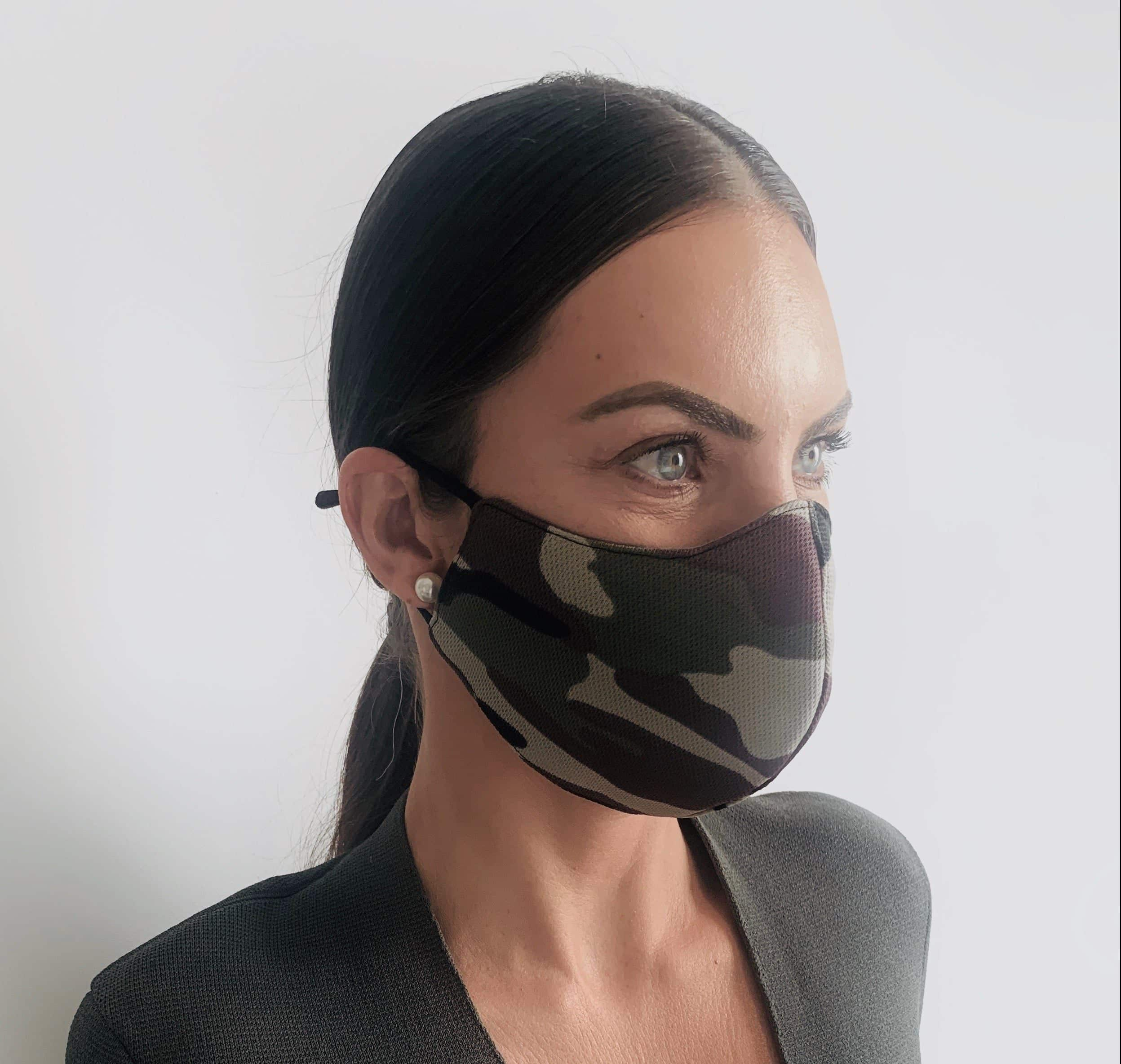Green camouflage womens reusable face mask