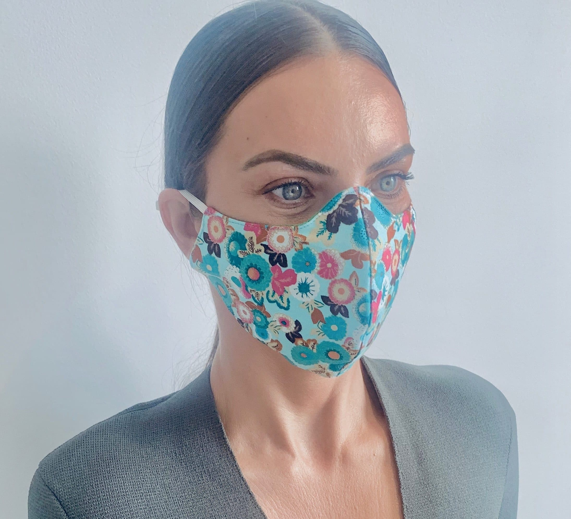 Japanese floral print womens reusable face mask