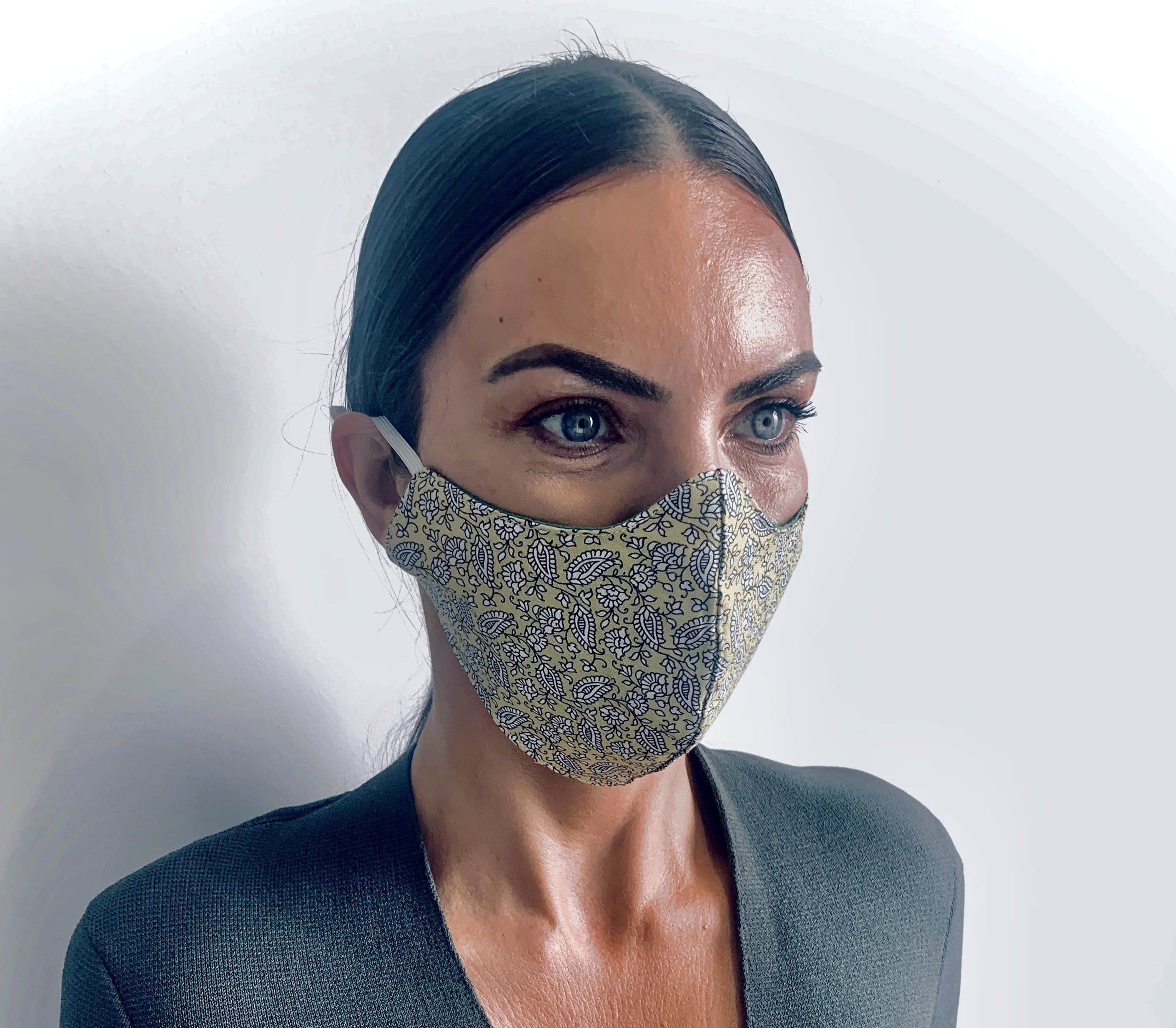 Paisley yellow reusable womens face mask